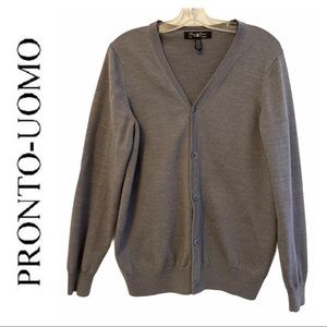 Pronto Uomo Grey Merino Wool Blend Sweater